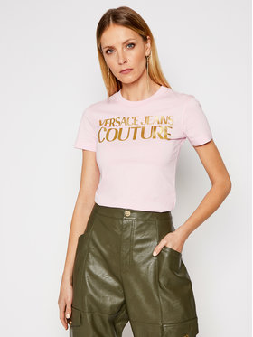 Versace Jeans Couture Versace Jeans Couture Marškinėliai B2HWA7TB Rožinė Slim Fit
