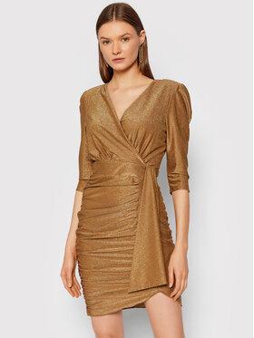 Rinascimento Rinascimento Koktejlové šaty CFC0105082003 Zlatá Slim Fit