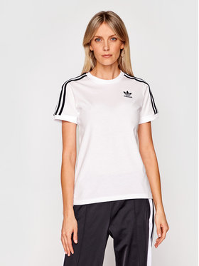 adidas adidas Тишърт 3 Stripes Tee GN2913 Бял Regular Fit