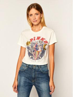 Pinko Pinko T-Shirt Durante Al 20-21 BLK01 1G15BE Y5BD Biały Regular Fit