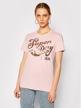 Superdry Superdry T-Shirt Sequin W1010248A Rosa Regular Fit