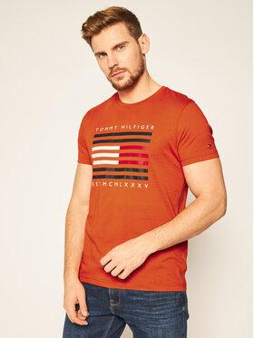 TOMMY HILFIGER TOMMY HILFIGER T-shirt Corp Flag Lines MW0MW15334 Arancione Regular Fit