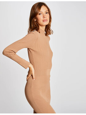 Morgan Morgan Sukienka dzianinowa 212-RMLULA Brązowy Slim Fit