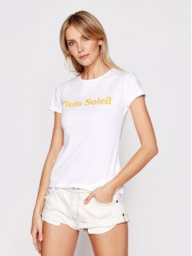 Drivemebikini Drivemebikini T-Shirt Plein Soleil 2019-DRV-001_WY Biały Slim Fit