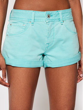 Pepe Jeans Pepe Jeans Pantaloni scurți de blugi Siouxie PL800685 Verde Regular Fit