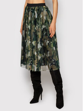 TWINSET TWINSET Plisovaná sukňa 212LI2WFF Zelená Regular Fit