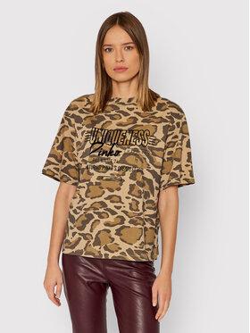 Pinko Pinko T-Shirt Raffigurare 1Q10A0 Y7R6 Zielony Regular Fit