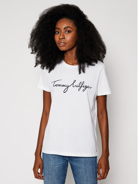 Tommy Hilfiger Tommy Hilfiger T-Shirt Heritage Crew Neck Graphic Tee WW0WW24967 Bílá Regular Fit