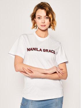 Manila Grace Manila Grace T-Shirt T169CU Biały Regular Fit