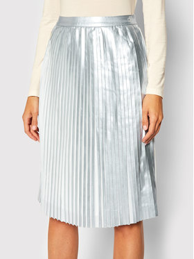 Calvin Klein Jeans Calvin Klein Jeans Plisovaná sukně Pleated J20J214125 Stříbrná Regular Fit