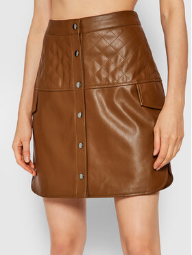 Vero Moda Vero Moda Sukňa z imitácie kože Loving 10252282 Hnedá Regular Fit