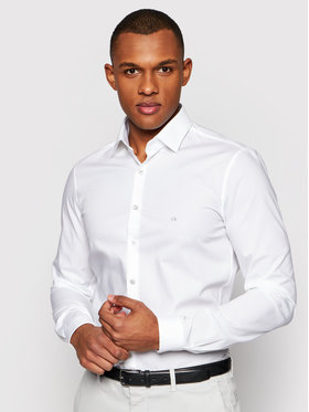Calvin Klein Calvin Klein Marškiniai Poplin Contrast K10K106917 Balta Extra Slim Fit