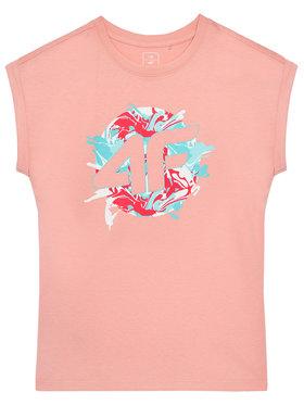 4F 4F T-Shirt JTSD012A Różowy Regular Fit