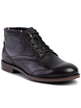 TOMMY HILFIGER TOMMY HILFIGER Ghete Dress Casual Leather Boot FM0FM02587 Negru