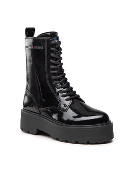 Tommy Jeans Tommy Jeans Trapery Patent Lace Up Flat Boot EN0EN01539 Czarny
