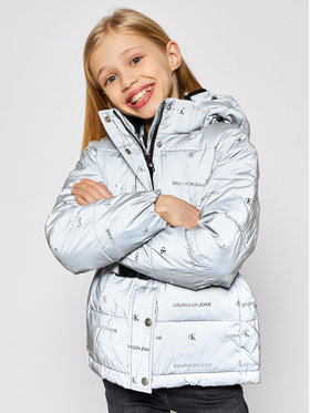 Calvin Klein Jeans Calvin Klein Jeans Vatovaná bunda Reflective Logo IG0IG00708 Sivá Regular Fit