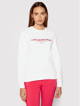 KARL LAGERFELD KARL LAGERFELD Mikina Graphic Logo 215W1801 Bílá Regular Fit
