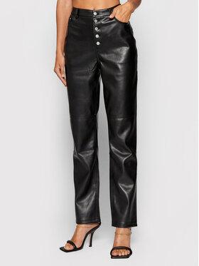 NA-KD NA-KD Spodnie z imitacji skóry Button Closure 1018-007366-0002-581 Czarny Regular Fit