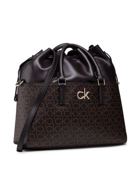 Calvin Klein Calvin Klein Дамска чанта Conv Habo Monogram Mix K60K608316 Кафяв