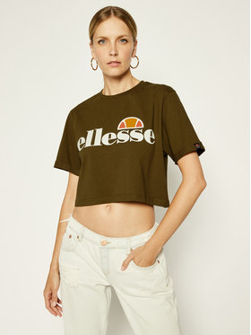 Ellesse Ellesse T-Shirt Alberta Crop SGS04484 Zelená Regular Fit