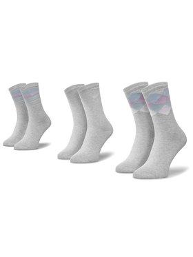 QUAZI QUAZI Súprava 3 párov vysokých dámskych ponožiek QZ-SOCKS-65-04-WOMAN-006 Sivá