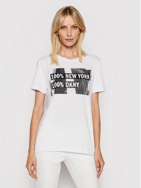 DKNY DKNY Tricou P02HBCNA Alb Regular Fit