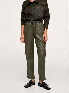 Mango Mango Spodnie z imitacji skóry Apple 17055533 Zielony Relaxed Fit