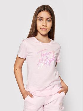 Tommy Hilfiger Tommy Hilfiger T-shirt Script Print KG0KG05870 D Ružičasta Regular Fit