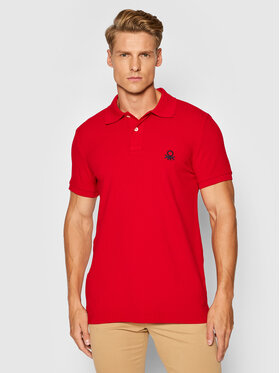 United Colors Of Benetton United Colors Of Benetton Polo 3089J3178 Czerwony Slim Fit