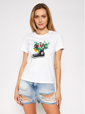 Converse Converse T-Shirt Flowers Are Blooming 10021074-A03 Biały Standard Fit