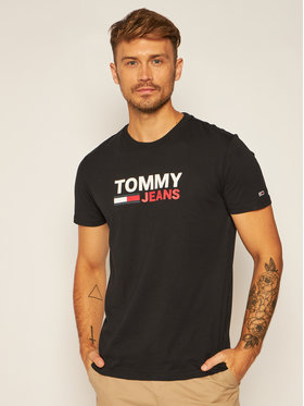 Tommy Jeans Tommy Jeans T-Shirt Corp Logo Tee DM0DM07843 Czarny Regular Fit