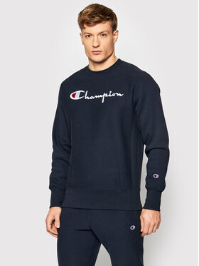 Champion Champion Pulóver Embroidered Script Logo Reverse Weave 216539 Sötétkék Regular Fit