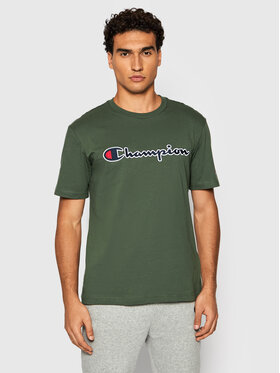 Champion Champion T-Shirt Script Logo 216473 Zielony Comfort Fit