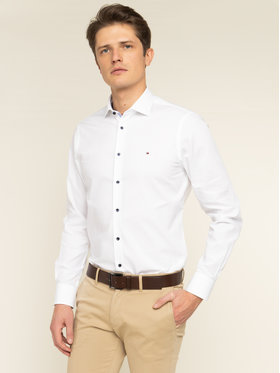 Tommy Hilfiger Tailored Tommy Hilfiger Tailored Marškiniai Poplin Classic TT0TT06391 Balta Slim Fit