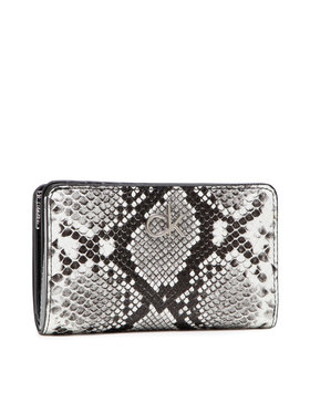 Calvin Klein Calvin Klein Голям дамски портфейл Billfold French Wallet Python Pu K60K608329 Сив