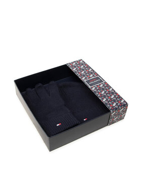 Tommy Hilfiger Tommy Hilfiger Set di Cappello e Guanti Gp Pima Cotton Beanie & Gloves AM0AM06595 Blu scuro