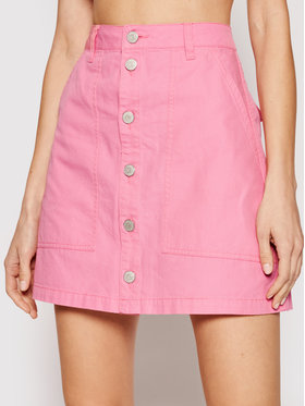 Tommy Jeans Tommy Jeans Gonna di jeans Badge Button Through DW0DW10196 Rosa Regular Fit