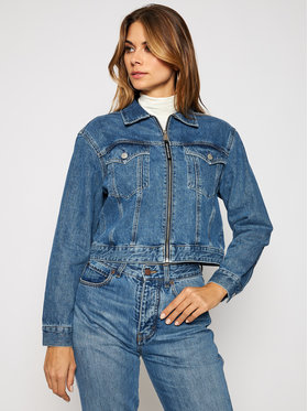 Calvin Klein Jeans Calvin Klein Jeans Jeansová bunda J20J214571 Tmavomodrá Cropped Fit