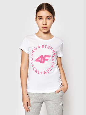 4F 4F Marškinėliai HJL21-JTSD005A Balta Regular Fit