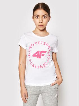 4F 4F T-Shirt HJL21-JTSD005A Bílá Regular Fit