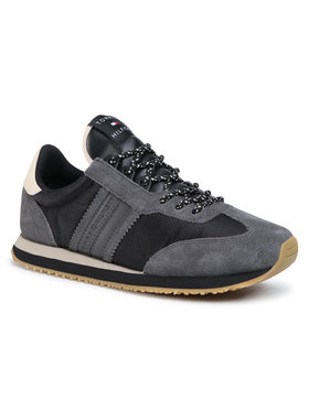 Tommy Hilfiger Sneakersy Lo Mix Winter Runner Stripes FM0FM03004 Čierna