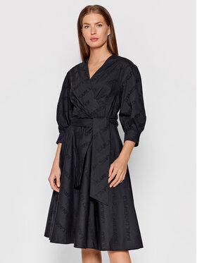 KARL LAGERFELD KARL LAGERFELD Kleid für den Alltag Logo Embroidered 215W1305 Schwarz Regular Fit