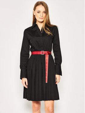 KARL LAGERFELD Košeľové šaty Logo Belt 201W1305 Čierna Regular Fit