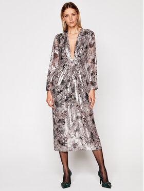 IRO IRO Večerní šaty Rouniea WM33 Stříbrná Regular Fit