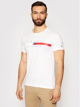 Tommy Hilfiger Tommy Hilfiger Marškinėliai Global Stripe Chest Tee MW0MW16572 Balta Regular Fit