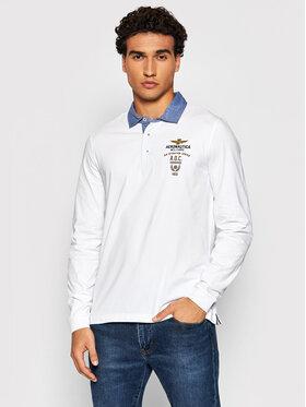 Aeronautica Militare Aeronautica Militare Тениска с яка и копчета 212PO1566J506 Бял Regular Fit