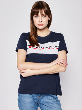 Tommy Sport Tommy Sport T-Shirt S10S100123 Granatowy Regular Fit