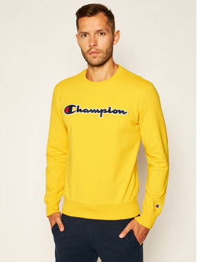 Champion Champion Pulóver Satin Script Logo 214188 Sárga Comfort Fit