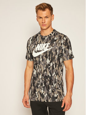 Nike Nike T-Shirt Sportswear Printed Camo CU7454 Szary Standard Fit