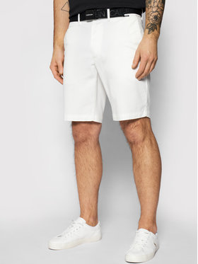 Calvin Klein Calvin Klein Шорти от плат Garment Dye Belted K10K107164 Бял Slim Fit